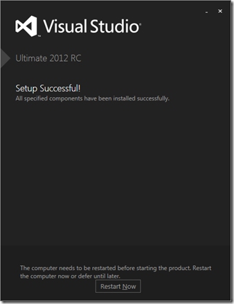 VS2012 - fin d'installation