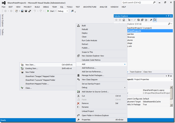 Visual Studio 2012 - Ajout item