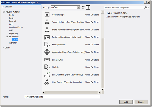 Visual Studio 2012 - Gallerie Items 2