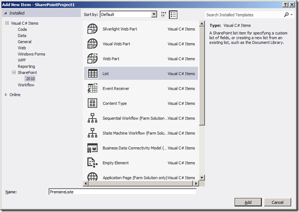 Visual Studio 2012 - Ajout Liste