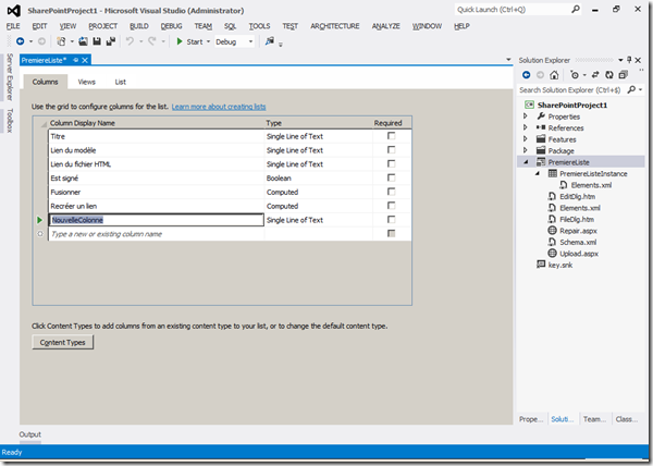 Visual Studio 2012 - Colonnes 1