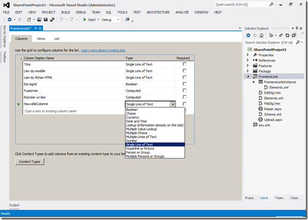 Visual Studio 2012 - Colonnes 2