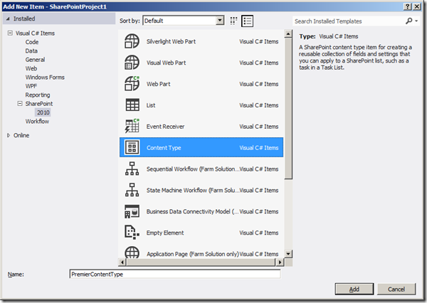 Visual Studio 2012 - Ajout content type 2