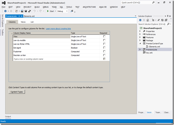 Visual Studio 2012 - List Definition 1