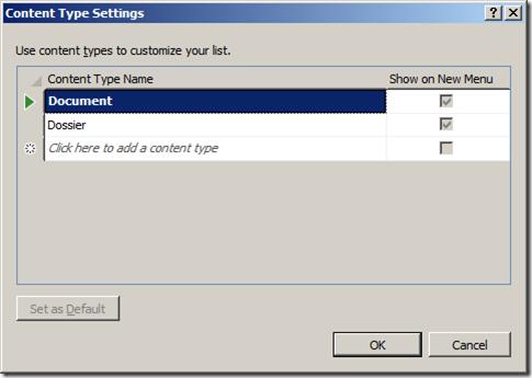 VS2010 - Liste Content Type